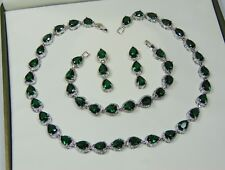 White Gold Filled Green and Clear Crystal Jewellery Set