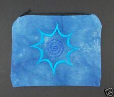 Blue Tie Dye Spiral Coin Purse Bag Pouch Credit Card ID Holder Wallet Cotton