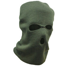 3 Hole Acrylic SAS Style Tactical Military Army Winter Warm Balaclava Hood Green