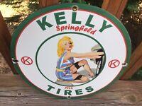 """Vintage Kelly Tires Heavy Porcelain Sign 12"""" Gas & Oil Sign"""