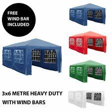 3x6m Sides Marquee Gazebo Tent Garden Party Waterproof Canopy Shelter Windbars