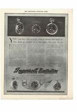 VINTAGE 1918 INGERSOLL RADIOLITE WATCH ALARM CLOCK STOPWATCH GLOW DARK AD PRINT
