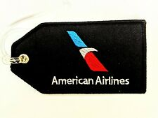 American Airlines Luggage ID Tag Current Red/W/B Embroidered Black Background