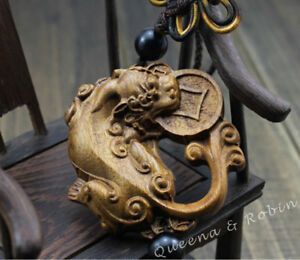 Rose Wood Carving Chinese Pixiu Pi Yao Coin Foo Dog Statue Car Pendant Sculpture