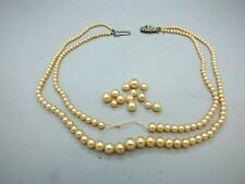 Outstanding Double String Cultured Graduated Pearl Necklace w Silver Clasp c1930