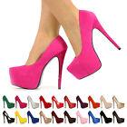 NEW WOMEN LADIES PARTY VERY HIGH HEEL STILETTO PLATFORM COURT SHOES SIZE UK 3-8