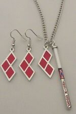 "HARLEY QUINN ""GOOD NIGHT"" COSPLAY DELUXE 2 PIECE PENDANT AND EARING SET"