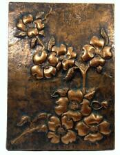 Copper Wall Hanging Picture Flower Floral Emboss Repousse Work 28 x 20 cm