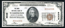 1929 $20 THE RIGGS NB OF WASHINGTON, D.C. NATIONAL CURRENCY CH #5046 UNC (K)