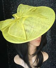 citrus Yellow DISC FASCINATOR HAT ASCOT WEDDING OCCASION MOTHER OF THE BRIDE