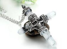 "Stainless Steel Large Cross Skeleton Skull Pendant Men Necklace w/Free Chain 22"""
