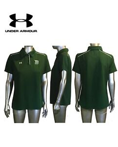UNDER ARMOUR Green w/ White Stretch 3-Button Golf / Polo Shirt Women's Large