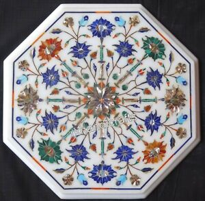 12 Inches Marble Office Coffee Table Top Inlay with Multi Gemstones Patio Table