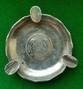 CHINA - TACKHING  SILVER $ Coin Ashtray 1927  BIRTH of a REPUBLIC  MEMENTO Yuan