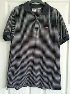 Mens Levi's Short Sleeved Black And White Striped Polo Top Size XL