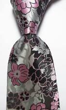 New Classic Floral Black Gray Pink JACQUARD WOVEN 100% Silk Men's Tie Necktie
