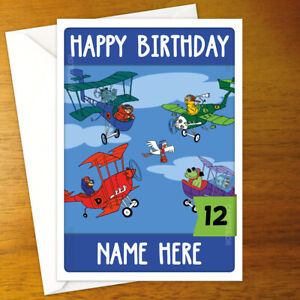 STOP THE PIGEON Personalised Birthday Card - A5 dastardly muttley flying machine