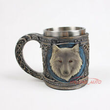 16oz 3D Resin Wolf Tribal Mug Alpha Gray Antique With Stainless Steel Rim