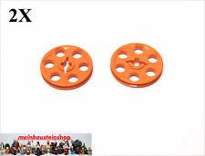 LEGO technic technique 2 pièces poulie transparent Neon Orange 4185 Nouveau