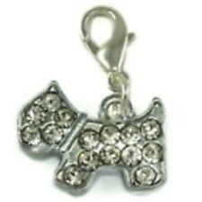 LOVELY SPARKLY SILVER & CLEAR RHINESTONES DOG CLIP ON CHARM - SILVER ALLOY
