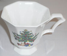 Nikko Christmastime Footed Cup Octagonal White Green Christmas Tree Teddy