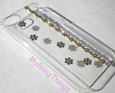 GOLD FLOWERS Crystal Bling Clear Back Case for iPhone 5C with Swarovski Elements