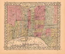 Plan of Philadelphia, 1867 by Ward Maps Vintage Print Poster 11x14
