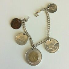 "Canada Canadian Coin Charm Bracelet 7"" Jewelry"