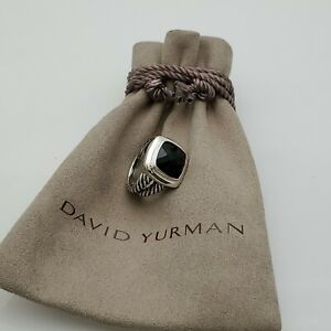 David Yurman 925 sterling silver 11mm Albion Ring with Black Onyx size 6