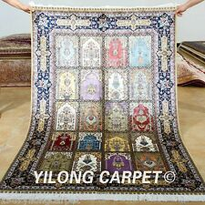 Yilong 4'x6' Turkish Silk Rugs Handmade Carpets Blue Garden Scenes Knotted 0689