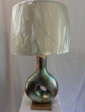 "Turquoise Oval Ceramic Lamp Glossy Glaze Finish 25"" with shade"