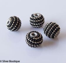4 Black Indonesian Beads encircled by black and metal seed beads 12mm