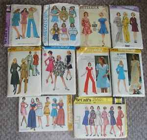 1960's 70's Vintage Sewing Pattern Lot Bust 34