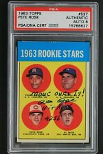 Pete Rose 1963 Topps # 537 Rookie Card Signed Autographed 'MOVE OVER TY' PSA