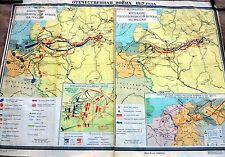 RARE BIG SCHOOL POSTER USSR 1984 MAP PATRIOTIC WAR 1812 NAPOLEON AGAINST RUSSIA