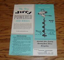 Original 1950s Jiffy Ice Drill Model J and J-A Sales Sheet Brochure