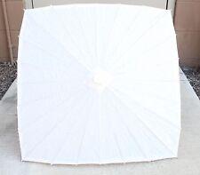 "23"" Square White Wood Bamboo Paper Parasol Backyard Umbrella Decoration Gift"