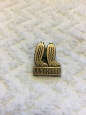 Vintage Amarillo Texas Western Cowboy Boots Black And Gold Plastic Lapel Pin