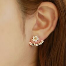 White Cream Zinnia Gold Flower Ear Jackets Cuff Earrings Pave Crystal Stud Rose