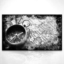 Antike Weltkarte Kompass Bild Leinwand Abstrakte Kunst Bilder Wandbilder D0891