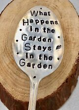 What Happens in the Garden Stays in the Garden. For Flower Pots. Hand Stamped
