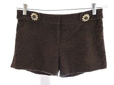 Milly of New York Jacquard Brocade Embroidered Floral Shorts Brown Sz 4 Small