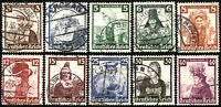 GERMANY Deutsches Reich SC# B69-B78 Stamps Postage Set Collection 1935 USED