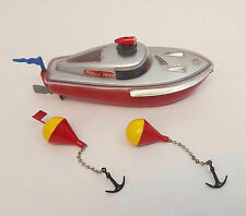 Vintage Schuco TELECO 3003 Wind Up Toy Race Speed Boat with 2 Buoys WORKS!