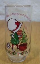 VINTAGE HOLLY HOBBIE MERRY CHRISTMAS NICEST TIME OF ALL COKE Coca-Cola GLASS CUP