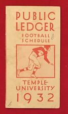 Antique 1932 Temple University Football Pocket Schedule Early 1930s Philadelphia
