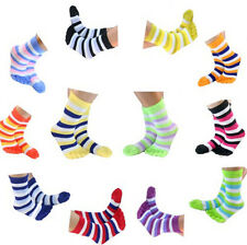 New 6 Pairs Women's Soft Striped Multi-Color Ankle Toe Socks Cotton Casual Socks