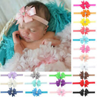 10PCs/Set Kid Girl Baby Toddler Infant Flower Headband Hair Bow Band Acces ECS