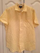 NWT Mens Linen Blend Banana Republic Yellow Dress Shirt Size XL Slim Fit