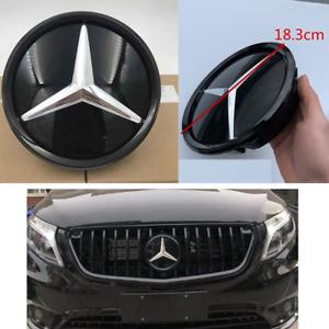 Black Mirror Front Grille Logo Badge Emblem For Mercedes-Benz 2011-2020 C E W205